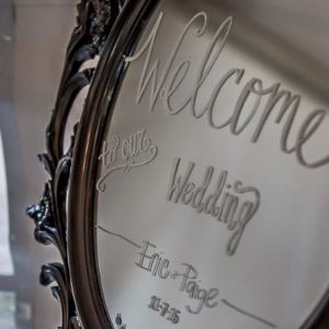 Black frame welcome mirror
