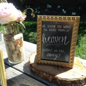 Memorial table sign & cork vase