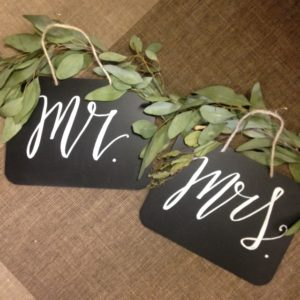 Mr. & Mrs. chair back signs